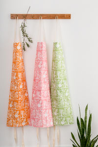 'Punchy Paprika' Apron In Pink, Green, Or Orange