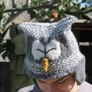 Owl Hat With Ear Flaps Knitting Kit - knitting kits