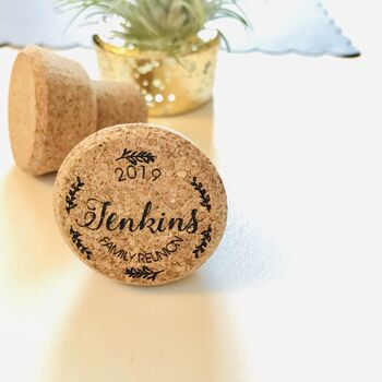 Personalised Family Reunion Wine Cork Stopper