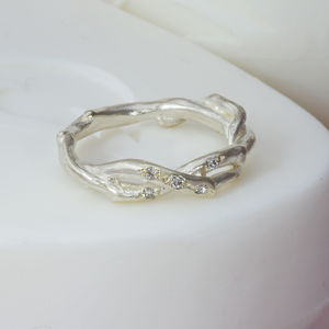 Silver Two Strand Diamond Set Ring - 60th anniversary: diamond