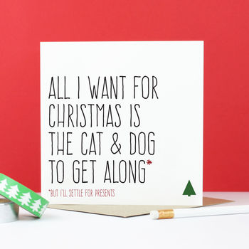 'Cat And Dog To Get Along' Christmas Card