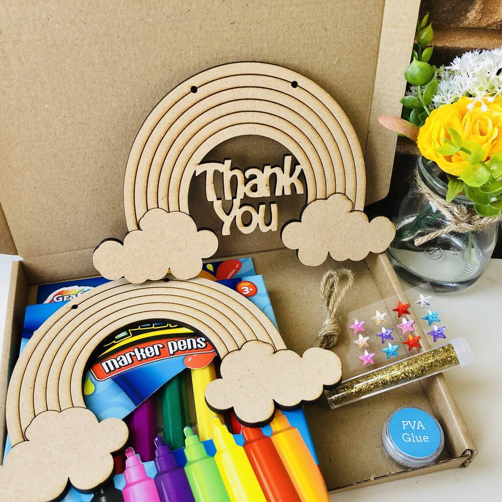 wooden craft rainbow perfect for painting thank you NHS gift
