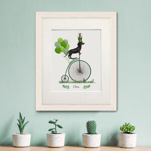 Personalised Dachshund On Penny Farthing Print