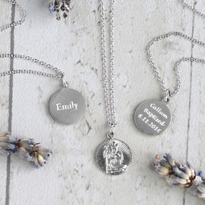 Childs Silver St Christopher Necklace