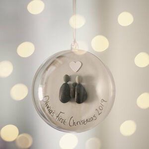Personalised Baby's First Christmas Pebble Bauble