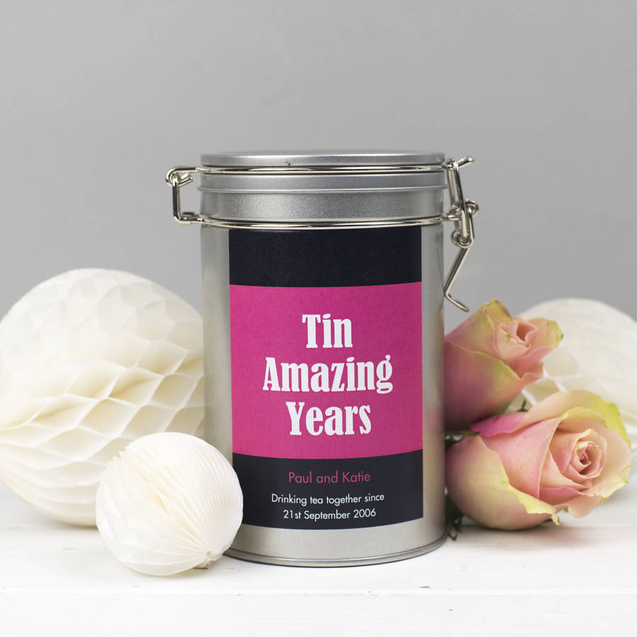 10 Year Wedding Anniversary Tin Gifts: Personalised 10th Anniversary Tea Gift Tin By Novello