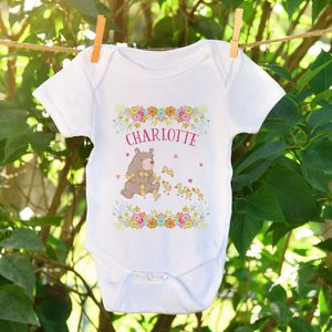 Personalised Bear And Ducks Baby Grow