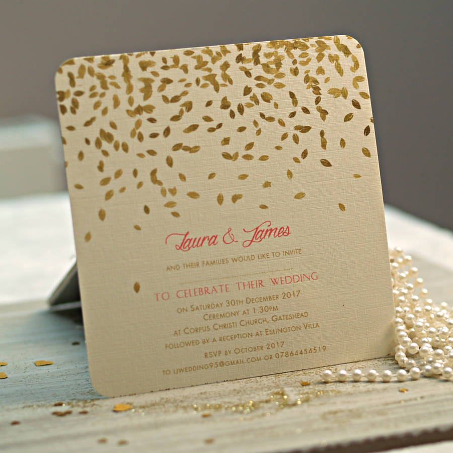 Gold leaves design wedding invitations by beautiful day gold leaves design wedding invitations junglespirit Images