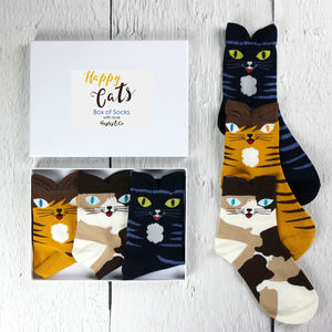 Happy Cats Box Of Socks - women's fashion