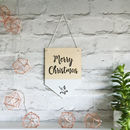 Merry Christmas Wooden Hanging Flag/Pennant