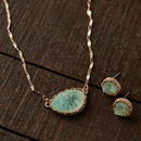Gold And Mint Druzy Necklace And Earring Set