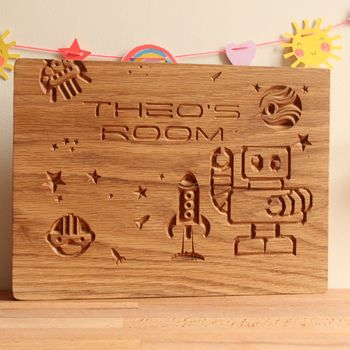 Personalised Engraved Oak Children's Robot Room Sign