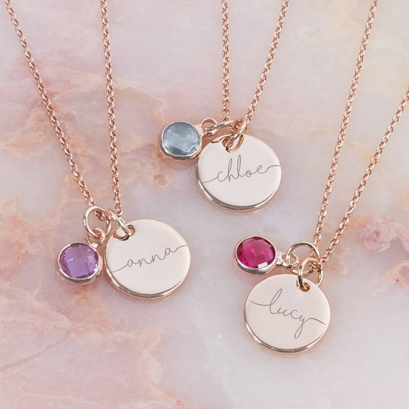 Esme Personalised Initial Birthstone Necklace By Bloom