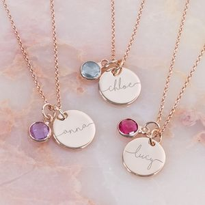 Esme Personalised Initial Birthstone Necklace - sale