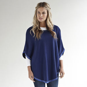 Cashmere Mix Poncho With Lurex Trim - gifts for her