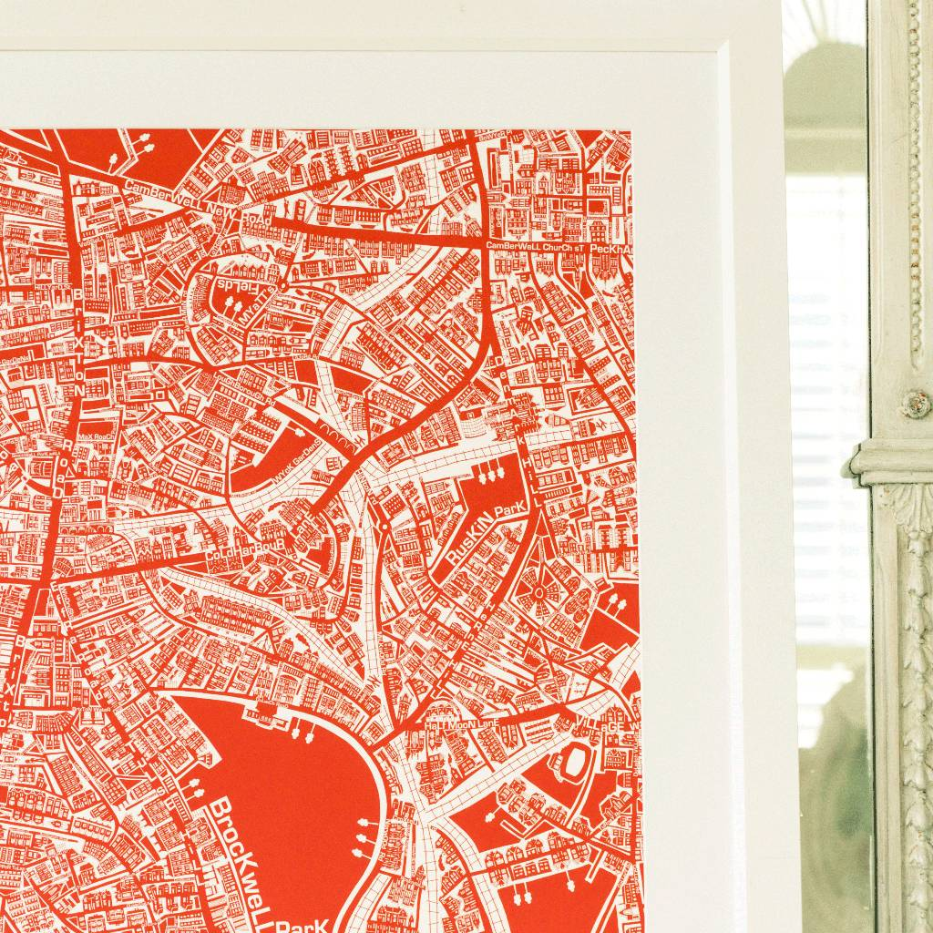 South West London Map.South West London Framed Illustrated Map Print By The Mips