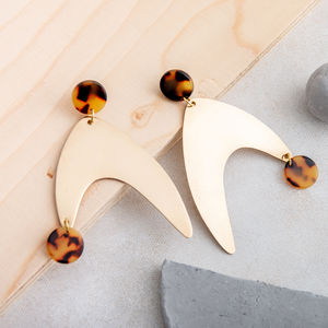 Tortoiseshell Resin And Brass Statement Earrings