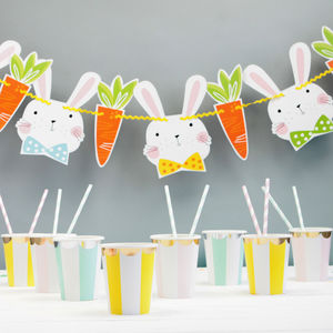 Bunny Rabbit And Carrot Party Garland - summer sale