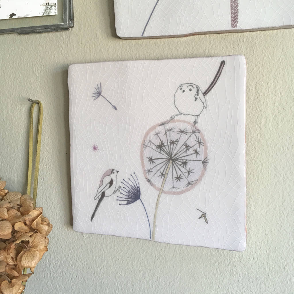 Dandelion Clock Design Ceramic Tile Wall Art By