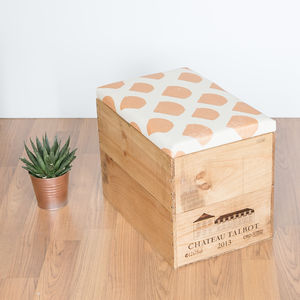 Upcycled Wine Crate Ottoman Storage Box