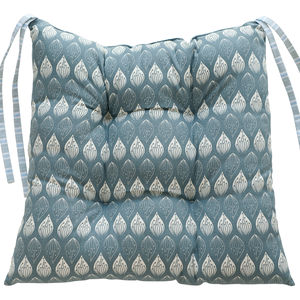 Isabella Blue And Ledbury Blue Grey Chair Pad - living room