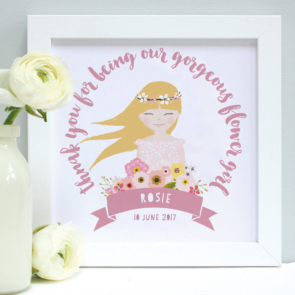 personalised flower girl portrait framed print by birdyhome ...