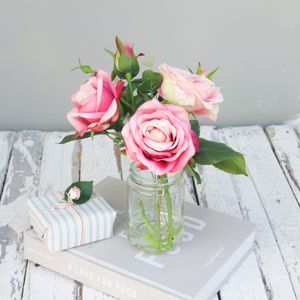 Faux Flower Double Rose Bouquet - flowers & plants