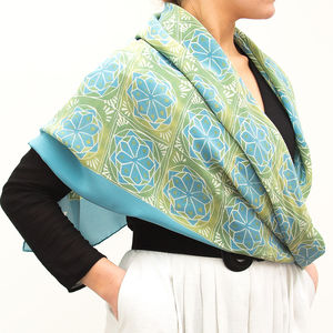 Byzantine Tiles Blue Silk Scarf