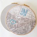 Vintage map in hoop with embroidered initials, heart and date in electric blue modern font