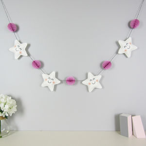 Star Garland With Honeycomb Pom Poms - baby's room