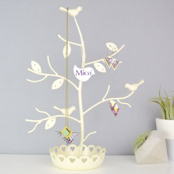 Personalised Perched Birds Jewellery Tree