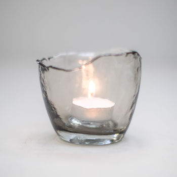 Smokey Grey Glass T Light Holder