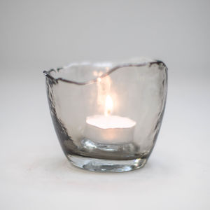 Smokey Grey Glass T Light Holder - table decorations