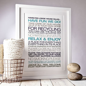 Personalised Guest House Rules Print