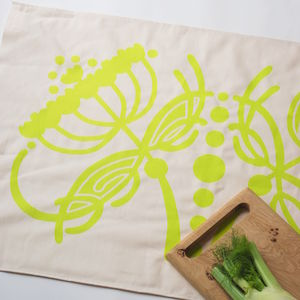 Fennel Screen Printed Tea Towel - kitchen