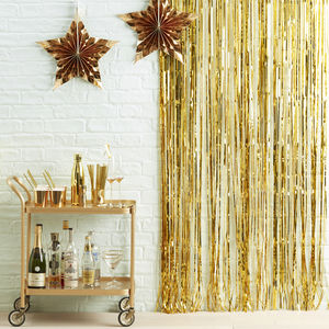 Gold Fringe Curtain Party Decoration - room decorations