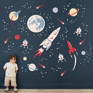 Space Rockets Fabric Wall Sticker - wall stickers