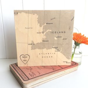 Personalised International Map Print On Wood - posters & prints