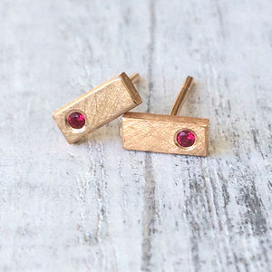 Ruby Mini Bar Studs In 18ct Rose Gold - children's jewellery