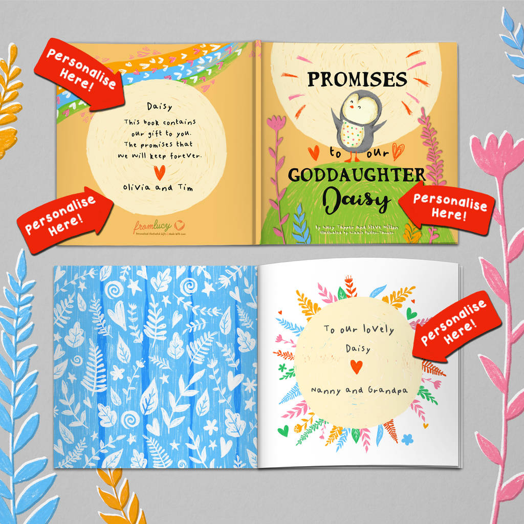 Personalised Promises To You Book For Godchild