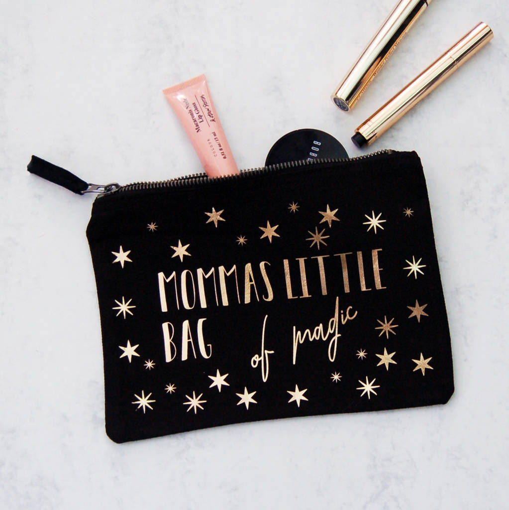 Personalised Make Up Bag Of Magic Gold And Black