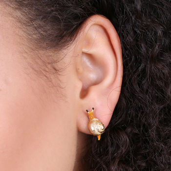 Gold Snail Stud Earrings
