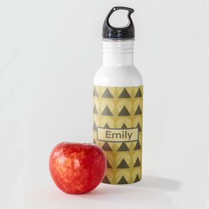 Personalised Retro Mustard Water Bottle