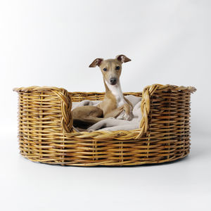 Natural Oval Rattan Pet Basket For Cats Or Dogs