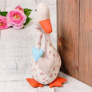 Gemma The Friendly Duck Heart Fabric Door Stop