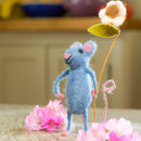 Blue Mouse With Flower
