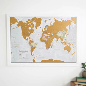 Scratch the World® map print with coin - 21st birthday gifts