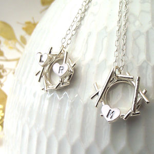 Nest And Initial Heart Necklace