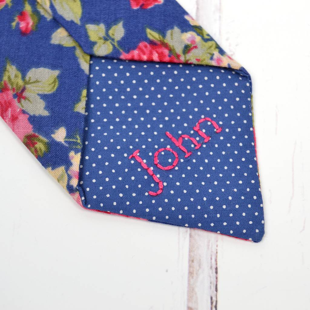 Handmade Mix And Match Personalised Tie: Blue Rose