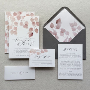 Blush Willow Wedding Invitations - wedding stationery